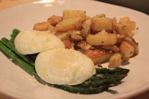Poached-Eggs-Roasted-Asparagus-Thyme-Garlic Potatoes-Front