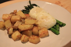 Poached-Eggs-Roasted-Asparagus-Thyme-Garlic-Potatoes-View